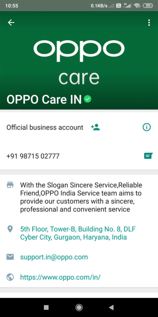 OPPO CARE INDIA WHATSAPP NUMBER +91 9871502777