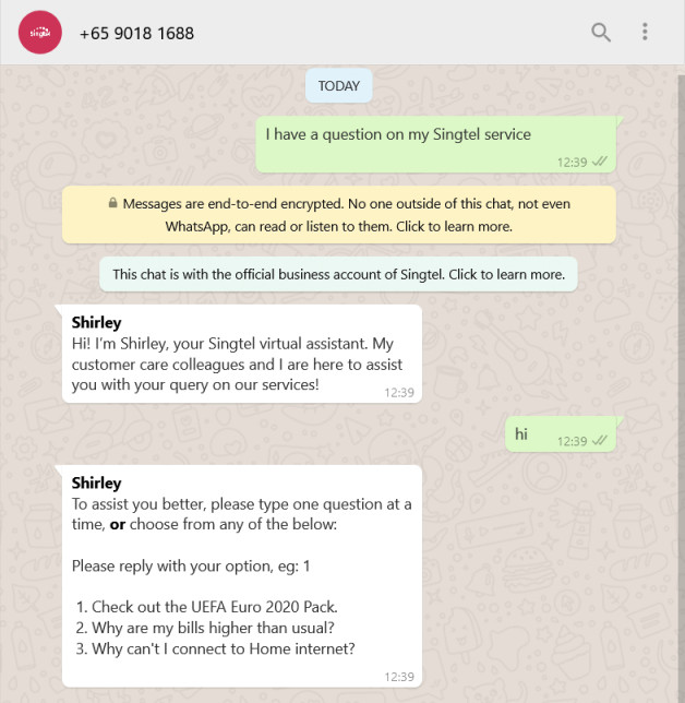SINGTEL Customer Care WHATSAPP Number +65 9018 1688 Chat Pic